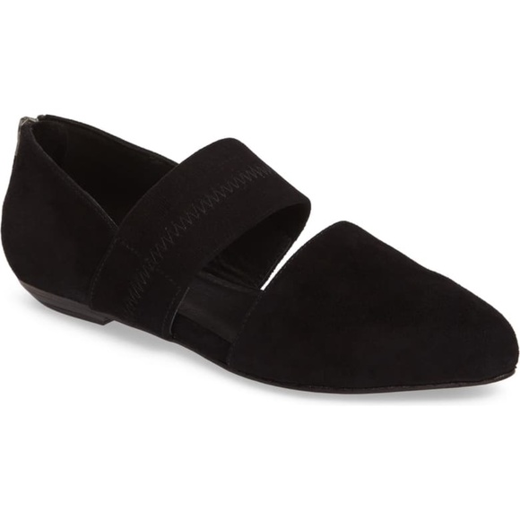 Eileen Fisher Black Suede Hall Pointy Toe Flat 8.5